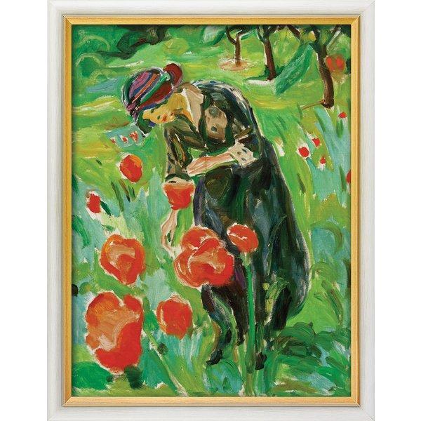 Edvard Munch: Bild 'Frau mit Mohnblumen' (1918/19), gerahmt