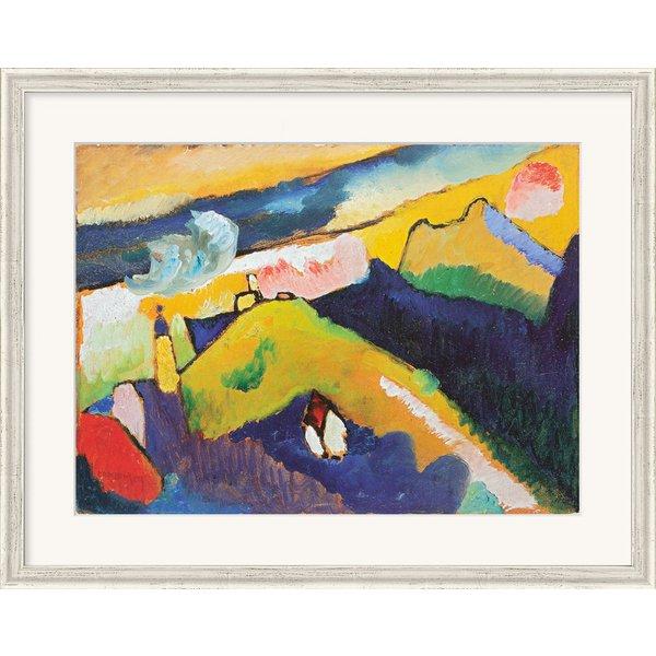 Wassily Kandinsky: Bild 'Berglandschaft mit Kirche' (1910), gerahmt