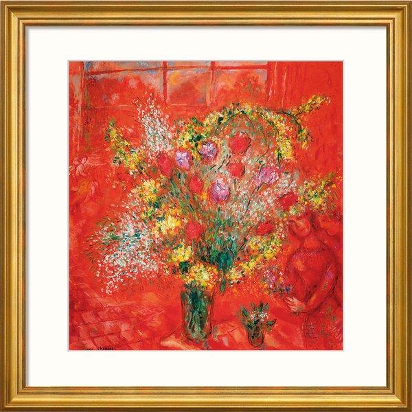 Marc Chagall: Bild 'Fleurs sur fond rouge' (1970), gerahmt