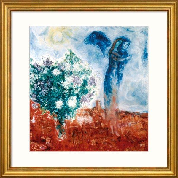 Marc Chagall: Bild 'Die Liebenden über St. Paul' (1970-71), gerahmt