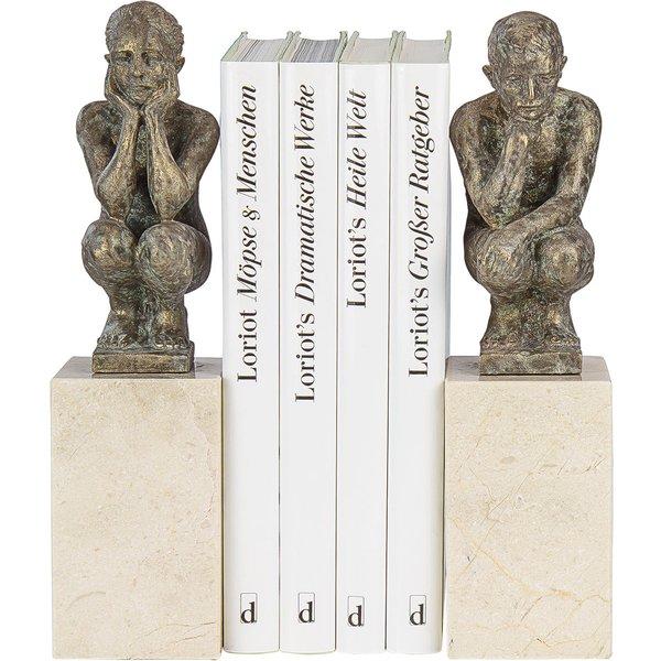Angeles Anglada: Skulpturenpaar / Buchstützen 'Boy and Girl', Kunstguss Steinoptik