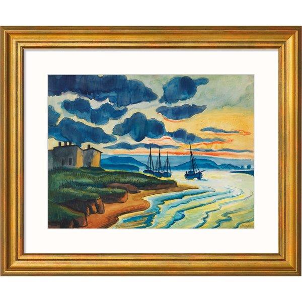 Max Pechstein: Bild 'Sonnenuntergang' (1925), Version goldfarben gerahmt