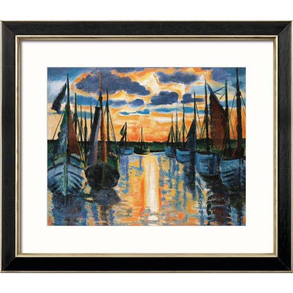 Max Pechstein: Bild 'Sonnenuntergang Leba Hafen' (1926), gerahmt