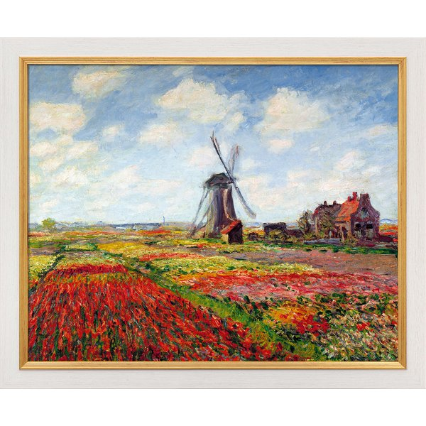 Claude Monet: Bild 'Champs de tulipes en Hollande - Tulpenfeld in Holland' (1872), gerahmt