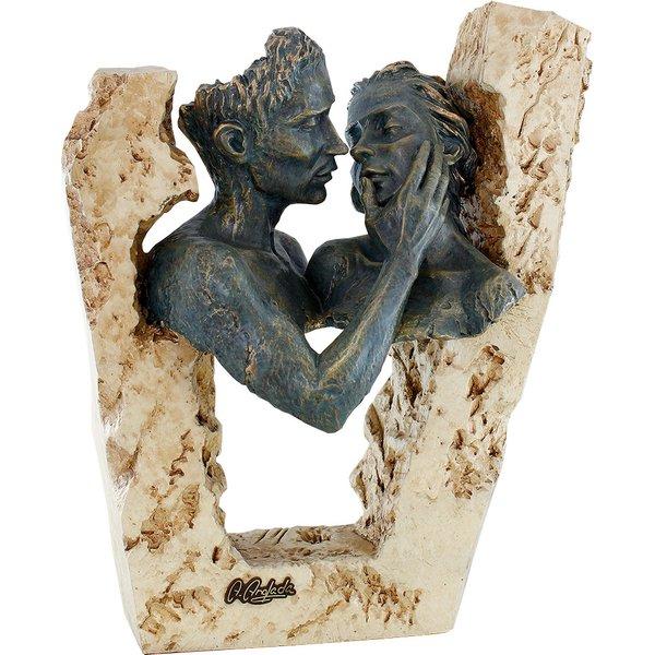 Angeles Anglada: Skulptur 'Zuneigung', Kunstguss Steinoptik