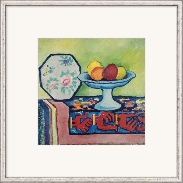 August Macke: Bild 'Stillleben mit Apfelschale und japanischem Fächer' (1911), gerahmt