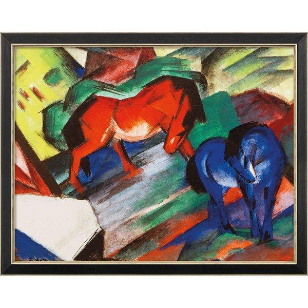 Franz Marc: Bild 'Rotes und blaues Pferd' (1912), gerahmt