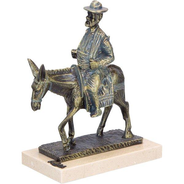 Angeles Anglada: Skulptur 'Sancho Panza en Burro', Kunstguss Steinoptik