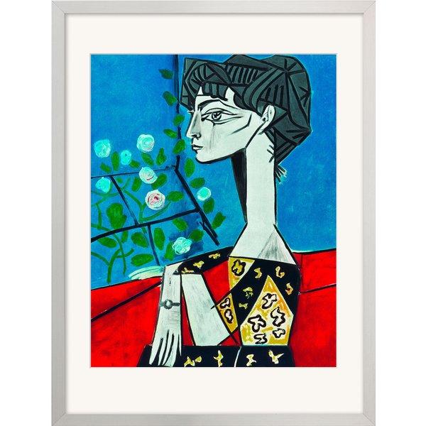 Pablo Picasso: Bild 'Madame Z (Jacqueline mit Blumen)' (1954), gerahmt