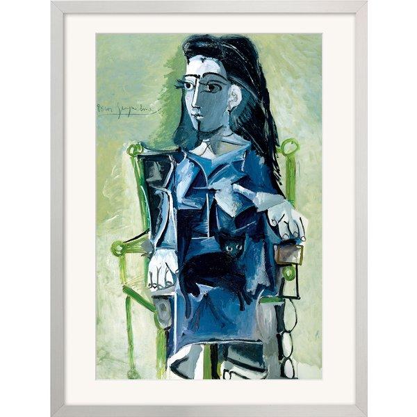 Pablo Picasso: Bild 'Jacqueline sitzend mit einer Katze' (1964), gerahmt