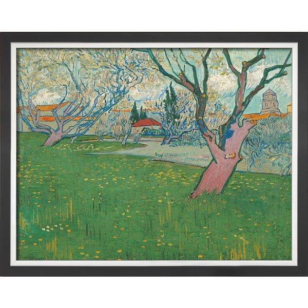 Vincent van Gogh: Bild 'Blühende Obstgärten, Blick auf Arles' (1889), gerahmt