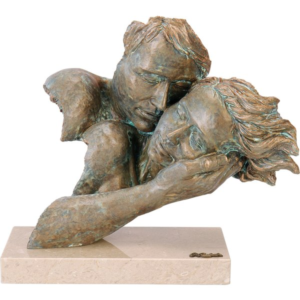 Angeles Anglada: Skulptur 'Zweisamkeit', Kunstguss Steinoptik