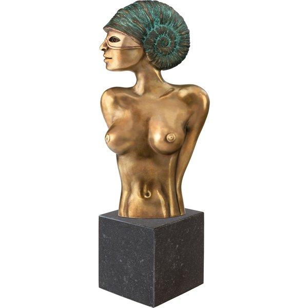 Michael Becker: Skulptur 'Ammonite mit Maske', Version in Bronze