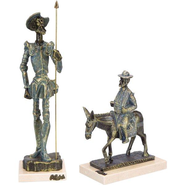 Angeles Anglada: Skulpturenset 'Don Quijote und Sancho Panza en Burro', Kunstguss Steinoptik