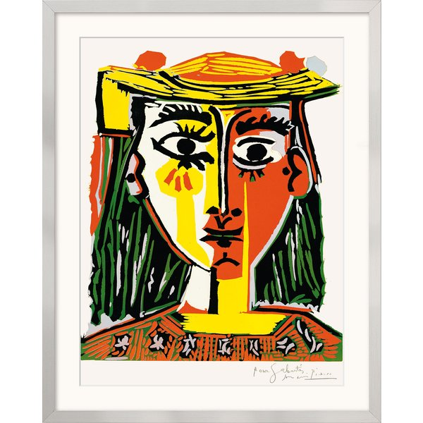 Pablo Picasso: Bild 'Frau mit Pompom-Hut und einer bedruckten Bluse' (1962), gerahmt