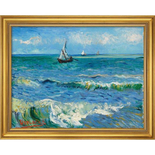 Vincent van Gogh: Bild 'Das Meer bei Les Saintes-Maries-de-la-Mer' (1888), Version goldfarben gerahm