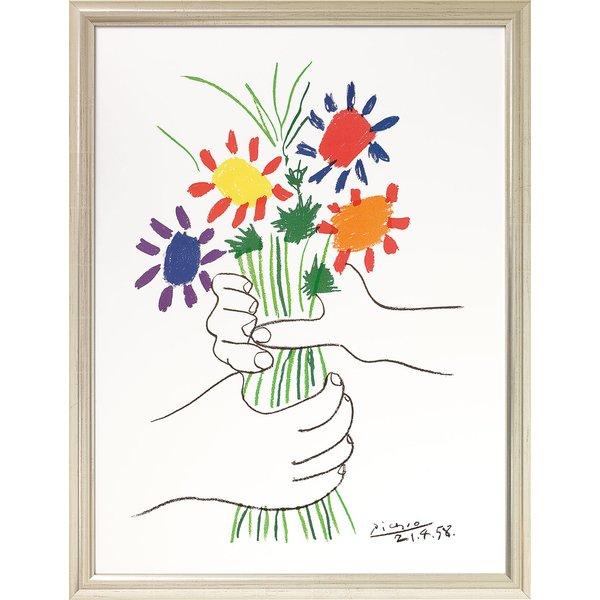 Pablo Picasso: Bild 'Hände mit Blumenstrauß' (1958), gerahmt