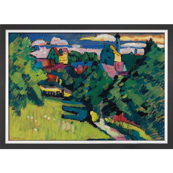 Wassily Kandinsky: Bild 'Murnau - Ansicht mit Burg, Kirche und Eisenbahn' (1909), gerahmt