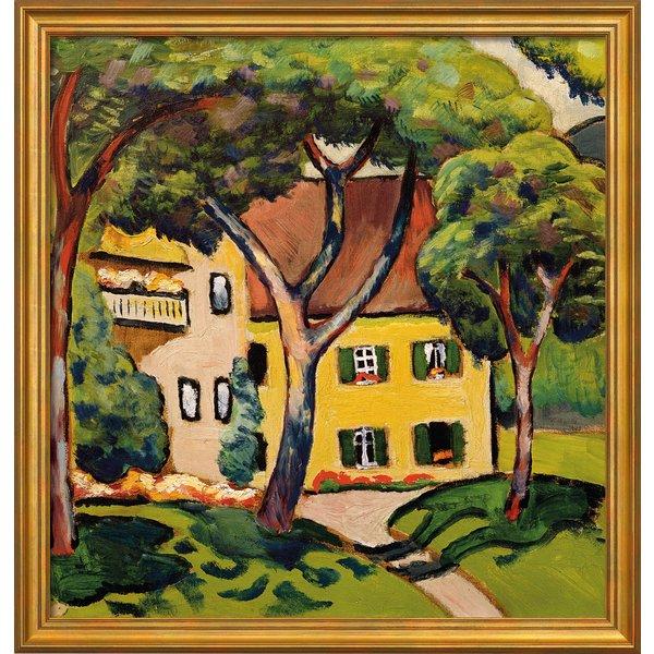 August Macke: Bild 'Staudacherhaus in Tegernsee' (1910), Version goldfarben gerahmt