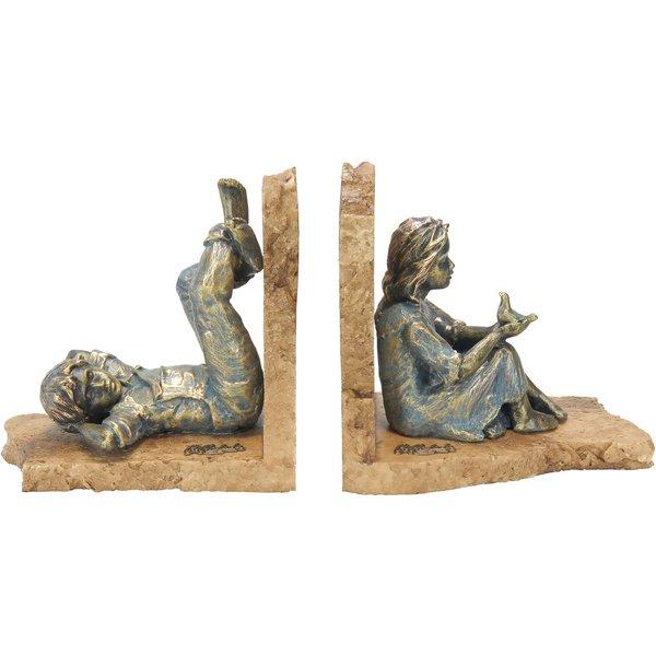 Angeles Anglada: Skulpturenpaar / Buchstützen 'Junge und Mädchen', Kunstguss Steinoptik