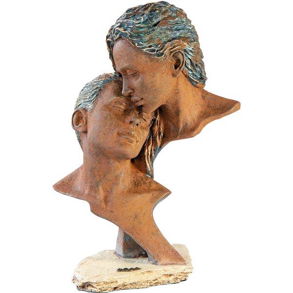 Angeles Anglada: Skulptur 'Zeit zu zweit', Kunstguss Steinoptik