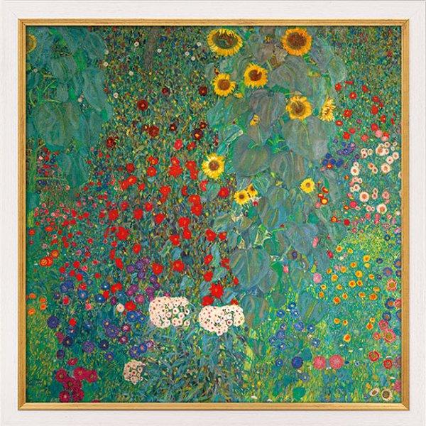 Gustav Klimt: Bild 'Bauerngarten mit Sonnenblumen' (um 1907), Version weiß-goldfarben gerahmt