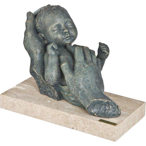 Angeles Anglada: Skulptur 'Geborgenheit', Kunstguss Steinoptik