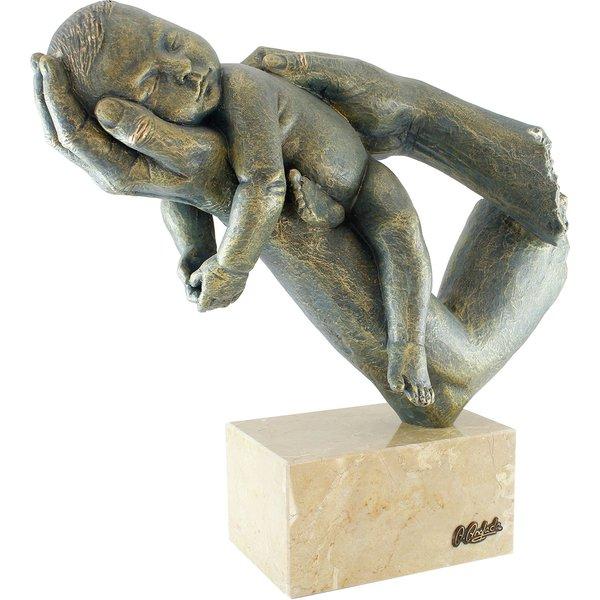 Angeles Anglada: Skulptur 'Mutter und Kind', Kunstguss Steinoptik