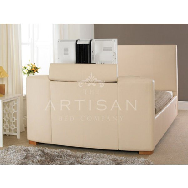 Artisan Leather TV Bed,Ivory White