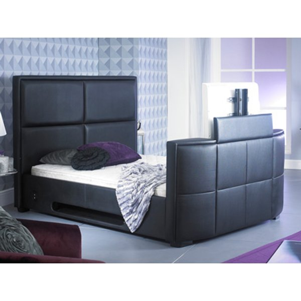 Artisan 5FT Kingsize Leather TV Bed,Black