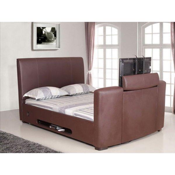 Artisan 5FT Kingsize Leather TV Bed,Brown