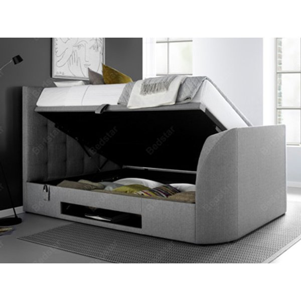 Kaydian Design Barnard 5FT Kingsize Ottoman TV Bed,Light Grey