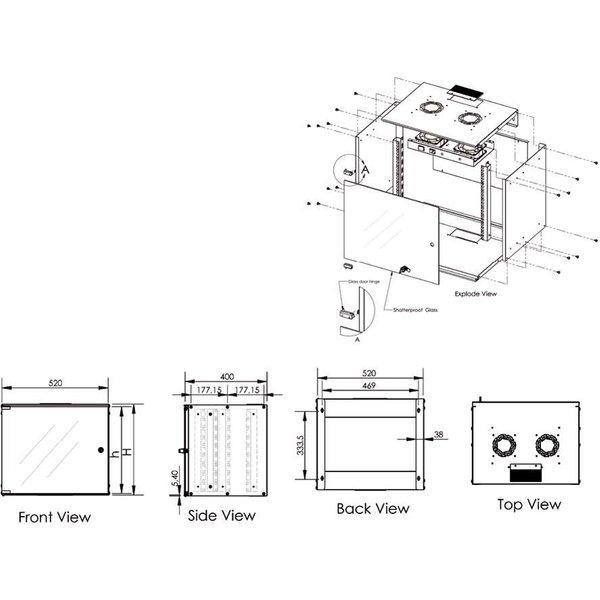 Digitus 483-mm-Wandschrank, 9 HE, IT-Schrank, grau