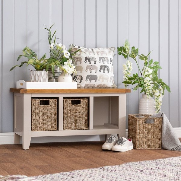 Chester Grey Painted Oak Hall Bench with Wicker Baskets