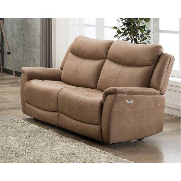 Arizona Caramel Fabric 2 Seater Electric Recliner Sofa