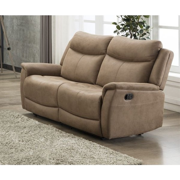 Arizona Caramel Fabric 2 Seater Recliner Sofa