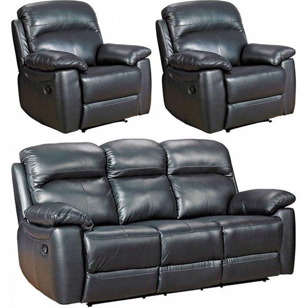 Aston Black Leather 3+1+1 Seater Recliner Sofa Suite