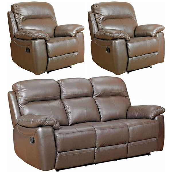 Aston Brown Leather 3+1+1 Seater Recliner Sofa Suite