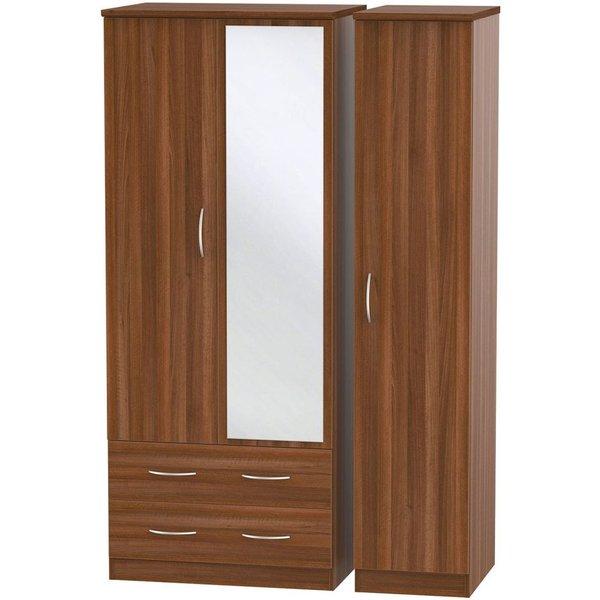 Avon Noche Walnut 3 Door 2 Drawer Combi Wardrobe