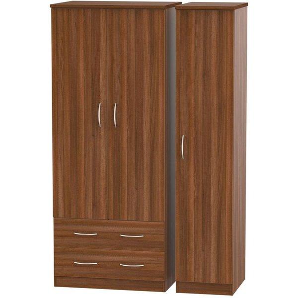 Avon Noche Walnut 3 Door 2 Left Drawer Wardrobe