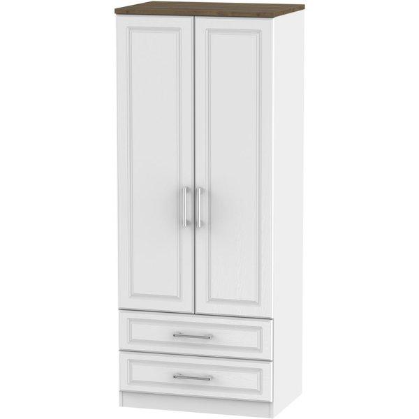 Kent 2 Door 2 Drawer Wardrobe - White Ash and Oak