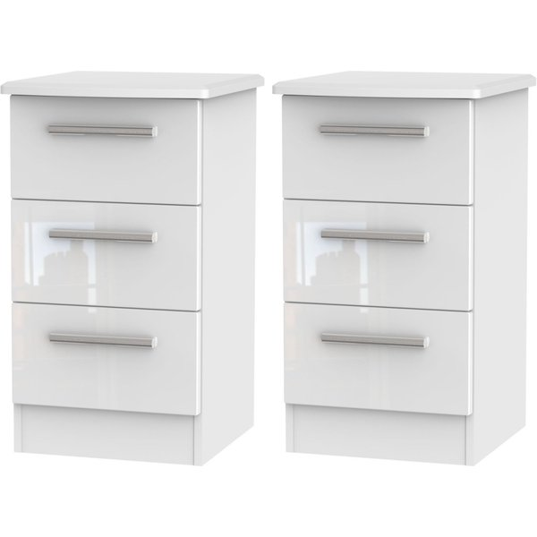 2 X Knightsbridge White 3 Drawer Bedside Cabinet (Pair)