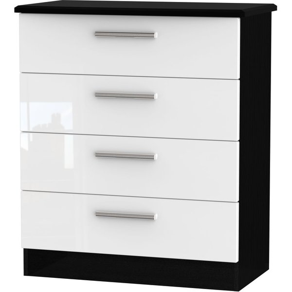 Knightsbridge 4 Drawer Chest - High Gloss White and Black