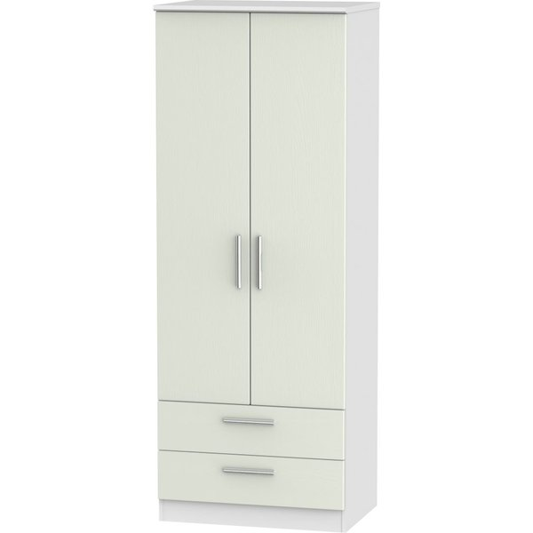 Knightsbridge 2 Door 2 Drawer Tall Wardrobe - Kaschmir Ash and White