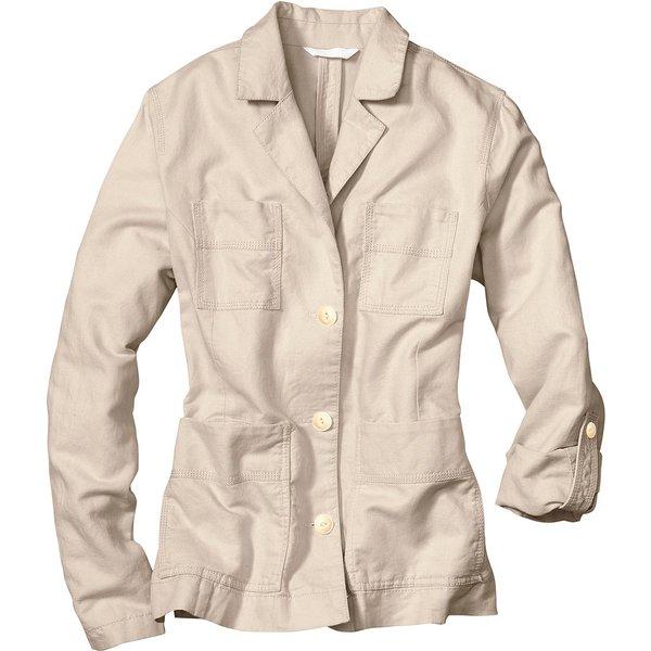 Artikel klicken und genauer betrachten! - Jacke mit Leinen Damen Natur Gr. XS Diese Jacke aus weichem, luftigem Leinen-Baumwoll-Mix hat einen Reverskragen. Die Ärmel können auf 3/4-Länge aufgekrempelt und mit einem Knopf fixiert werden. Schlitze an den Ärmelsäumen und an den Seiten. Vier aufgesetzte Taschen vorn. Weite Schulterpasse mit Knopfverschluss im Rückteil. Die Rückenpasse kann mit einem Knopf fixiert werden. | im Online Shop kaufen