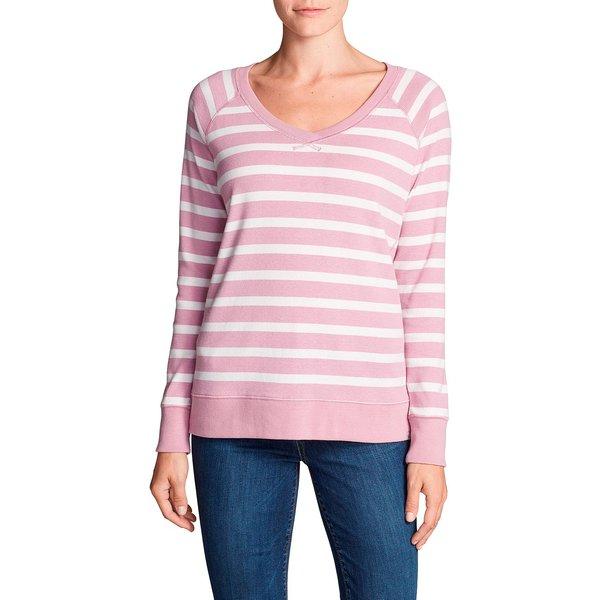 Artikel klicken und genauer betrachten! - Legend Wash Sweatshirt mit V-Ausschnitt - Gestreift Damen Violett Gr. XS Dieses gestreifte Sweatshirt mit V-Ausschnitt fühlt sich vom ersten Tag wie ein altes Lieblingsstück an. Die weiche, schrumpfresistente Baumwoll/Polyester Mischung wurde mit unserer exklusiven Legend Waschung behandelt, um außerordentliche Weichheit zu bieten. | im Online Shop kaufen