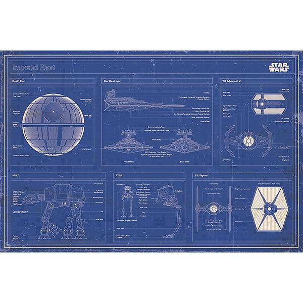 Star Wars Imperial Fleet Blueprint Poster Mehrfarbig