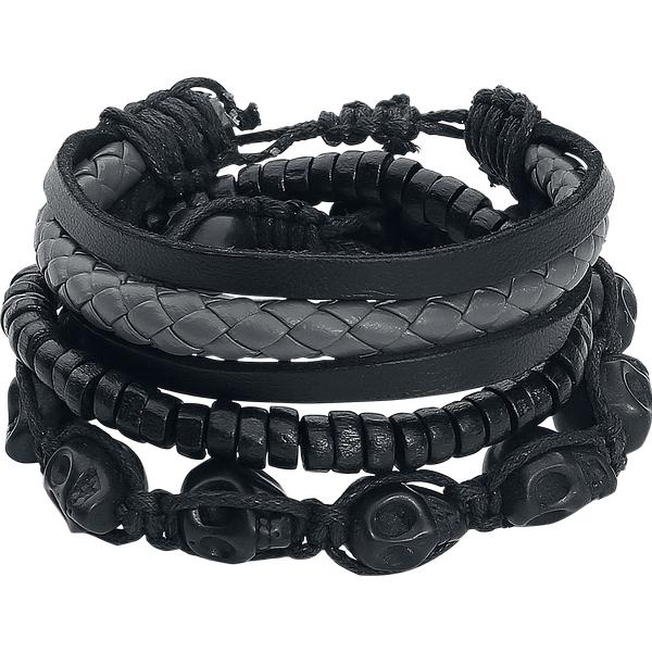 Leather Skulls - - Leather bracelet - black-grey
