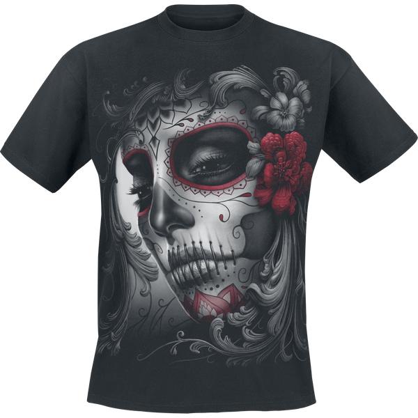 Skull Roses Men's XX-Large Front Print T-Shirt - Black