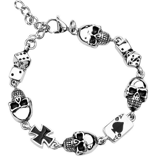 etNox hard and heavy - Gambling Skull - Bracelet - standard